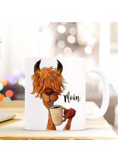 """Tasse mit Lama Becher Kaffeebecher Kaffeetasse mit Spruch MOIN"""" ts492"""""""