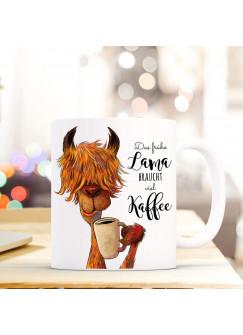 Tasse Becher Lama mit Spruch das frühe Lama braucht viel Kaffee ts493