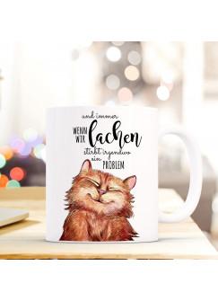 Tasse Becher lustige Katze Kaffeebecher mit Spruch Immer wenn wir lachen... ts498