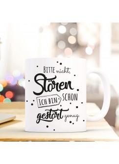 Tasse Becher mit Spruch & Punkte Kaffeetasse Kaffeebecher mit Motto Zitat Bitte nicht stören... ts515