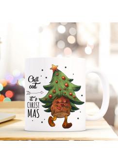 Tasse Becher Tannenbaum Weihnachtsbaum Spruchbecher Motto Zitat chill out it's christmas ts548