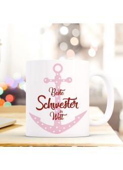 """Tasse Becher mit Anker & Spruch Beste Schwester der Welt"""" Geschenk Kaffeebecher Ankertasse mit Motto Zitat ts551"""""""