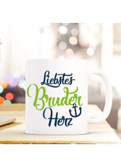 """Tasse Becher mit Spruch Liebstes Bruder Herz"""" Geschenk Kaffeebecher Ankertasse mit Motto Zitat in dunkelblau/grün ts553a"""""""