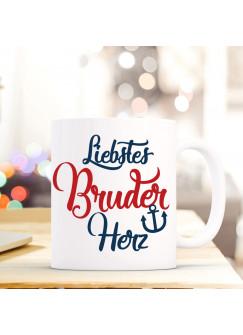 """Tasse Becher mit Spruch Liebstes Bruder Herz"""" Geschenk Kaffeebecher Ankertasse mit Motto Zitat in dunkelblau/rot ts553b"""""""