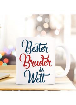 """Tasse Becher mit Spruch Bester Bruder der Welt"""" Geschenk Kaffeebecher Ankertasse mit Motto Zitat in blau/rot ts554c"""""""
