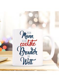"""Tasse Becher mit Spruch der coolste Bruder..."""" Geschenk Kaffeebecher Spruchtasse mit Motto Zitat ts558"""""""