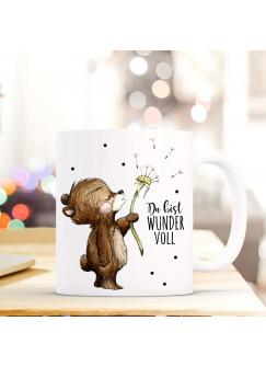 Tasse Becher Bär & Pusteblume Geschenk Kaffeebecher mit Spruch Motto Zitat Du bist Wundervoll ts567