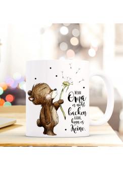 Tasse Becher Bär & Pusteblume Geschenk Kaffeebecher mit Spruch Motto Zitat Wenn Oma... ts568