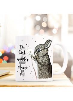 Tasse Becher Hase & Pusteblume Geschenk Kaffeebecher mit Spruch Motto wundervollste Mama der Welt ts571