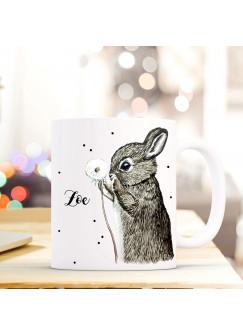 Individuelle Tasse Becher mit Hase Pusteblume & Name Geschenk Kaffeebecher mit Wunschname ts572