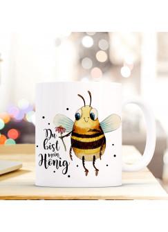 """Tasse Becher mit Biene Blume & Spruch """"Du bist mein Honig"""" Zitat Geschenk Kaffeebecher mit Motto ts573"""""""