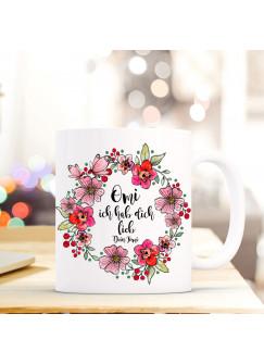 """Tasse Becher Oma Ich hab Dich lieb"""" Spruch Zitat mit Blumen Geschenk Kaffeebecher mit Wunschname ts574"""""""