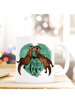 """Tasse Becher Otter verliebt mit Spruch Motto """"I'm otterly in love with you"""" Zitat Geschenk Kaffeebecher ts576"""