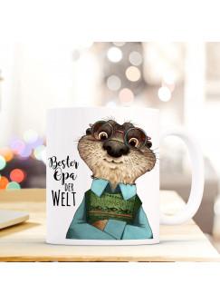 """Tasse Becher Otter & Spruch """"Bester Opa der Welt"""" Zitat Geschenk Kaffeebecher ts580"""