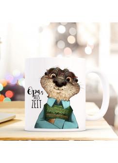 """Tasse Becher Otter & Spruch Opa's Auszeit"""" Zitat Geschenk Kaffeebecher ts581"""""""
