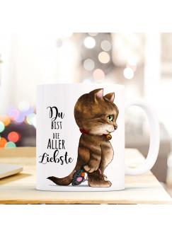 Tasse Becher Katze & Spruch Du bist die aller Liebste Zitat Geschenk Kaffeebecher ts582