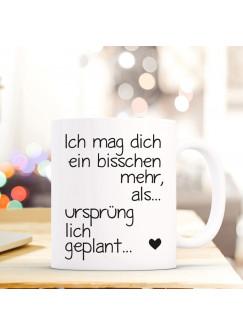 Tasse Becher mit Spruch Zitat Ich mag dich... & Herz Geschenk Kaffeebecher ts590