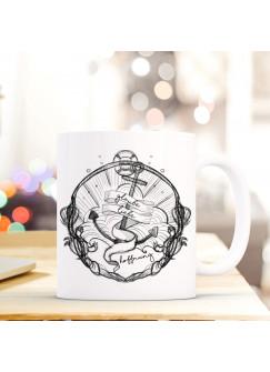 Tasse Becher mit Anker & Spruch Glaube Liebe Hoffnung Geschenk Kaffeebecher ts591