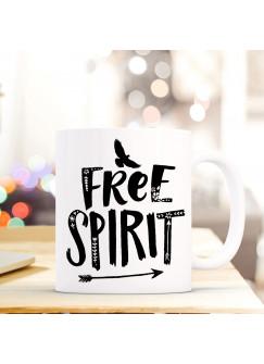 Tasse Becher mit Vogel & Spruch free spirit Geschenk Kaffeebecher Kaffeetasse ts602