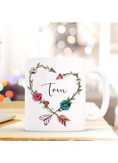 Tasse Becher mit Blumenherz & Name Wunschname Kaffeebecher Geschenk Hochzeit ts605
