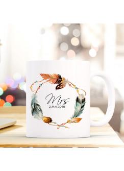 Tasse Pärchen Becher mit Federkranz Spruch Aufdruck Mrs. & Wunschdatum Hochzeitstag Kaffeebecher Geschenk Hochzeit ts606