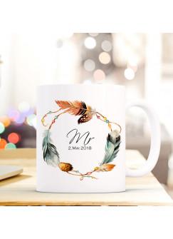 Tasse Pärchen Becher mit Federkranz Spruch Aufdruck MR. & Wunschdatum Hochzeitstag Kaffeebecher Geschenk Hochzeit ts607