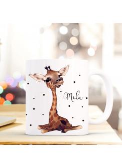 Tasse Becher mit Giraffe Punkten & Wunschname Kaffeebecher Name Geschenk Namenstasse ts610