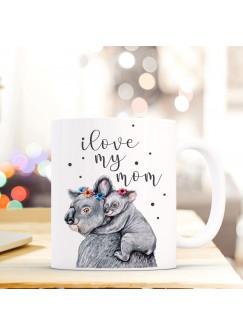 Tasse Becher Muttertag mit Koalas & Spruch Kaffeebecher Geschenk Motto Spruchbecher i love my mom ts637