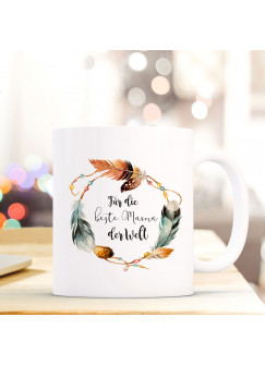 Tasse Muttertag Becher Kaffeetasse Kaffeebecher mit Federkranz und Spruch ...beste Mama der Welt ts631