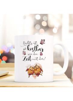 Tasse Muttertag Becher Kaffeetasse Kaffeebecher mit Eulen Eulchen und Spruch ...Zeit mit dir ts632