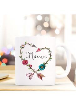Tasse Muttertag Becher Kaffeetasse Kaffeebecher mit Blumenherz und Spruch Zitat Mama ts634
