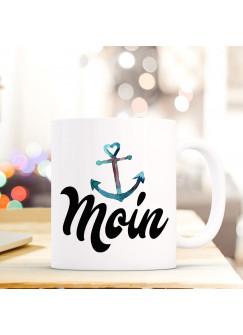 Maritime Tasse Becher Kaffeetasse mit Anker Spruch Kaffeebecher Geschenk Spruchbecher Moin ts645