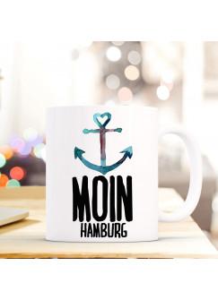 Maritime Tasse Becher Kaffeetasse mit Anker Spruch Kaffeebecher Geschenk Spruchbecher Moin Hamburg ts647