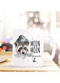Maritime Tasse Becher Kaffeetasse mit Waschbär Spruch Kaffeebecher Geschenk Spruchbecher... moin moin Mama ts655