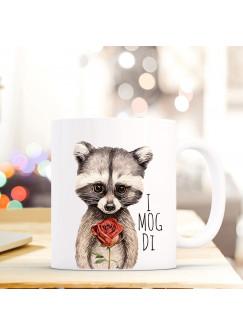Tasse Becher Kaffeebecher mit Waschbär & Spruch I mog di Kaffeebecher Geschenk ts671
