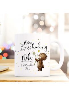 Tasse Becher Einschulung mit Bär Pusteblume Punkte Spruch Wunschnamen und Datum Kinderbecher Geschenk ts688