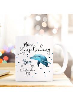 Tasse Becher Einschulung mit Delfin Punkte Spruch Wunschnamen und Datum Kinderbecher Geschenk ts690