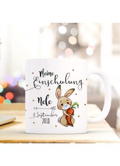 Tasse Becher Einschulung mit Hase Häschen Punkte Spruch Wunschnamen und Datum Kinderbecher Geschenk ts691