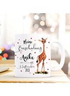 Tasse Becher Einschulung mit Giraffe Punkte Spruch Wunschnamen und Datum Kinderbecher Geschenk ts700