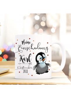 Tasse Becher Einschulung mit kleiner Pinguin Punkte Spruch Wunschnamen und Datum Kinderbecher Geschenk ts702