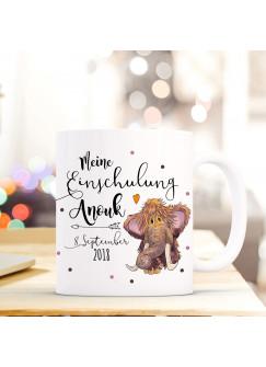 Tasse Becher Einschulung mit Mammut Punkte Spruch Wunschnamen und Datum Kinderbecher Geschenk ts705