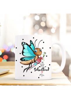 Tasse Becher Geschenk Schulstart mit Schmetterling Zuckertüte Punkte & Spruch Schulkind mit Name Wunschnamen ts717