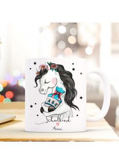 Tasse Becher Geschenk Schulstart mit Pferd Pferdchen Zuckertüte Punkte & Spruch Schulkind mit Name Wunschnamen ts718