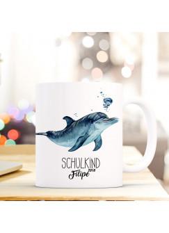 Tasse Becher Geschenk Schulstart mit Sterne Name Wunschnamen Einschulungsjahr Delphin & Spruch Schulkind ts735