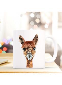 Tasse Becher mit Alpaka Geschenk mit Tiermotiv Kaffeetasse Alpakatasse Kaffeebecher Paco ts739