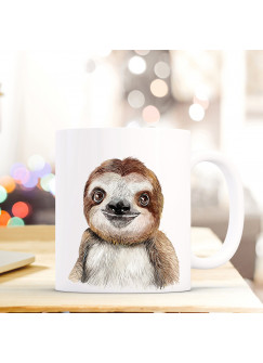 Tasse Becher mit Faultier Geschenk mit Tiermotiv Kaffeetasse Faultiertasse Kaffeebecher ts740