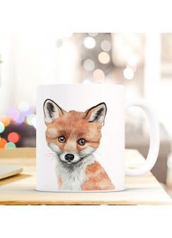 Tasse Becher mit Fuchs Geschenk mit Tiermotiv Kaffeetasse Fuchstasse Kaffeebecher ts741