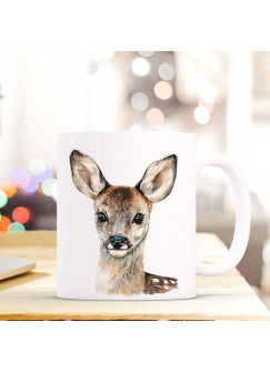 Tasse Becher mit Reh Geschenk mit Tiermotiv Kaffeetasse Rehtasse Kaffeebecher ts743