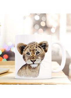 Tasse Becher mit Löwe Geschenk mit Tiermotiv Kaffeetasse Löwentasse Kaffeebecher ts744