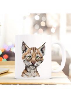 Tasse Becher mit Luchs Wildkatze Geschenk mit Tiermotiv Kaffeetasse Luchstasse Kaffeebecher ts745